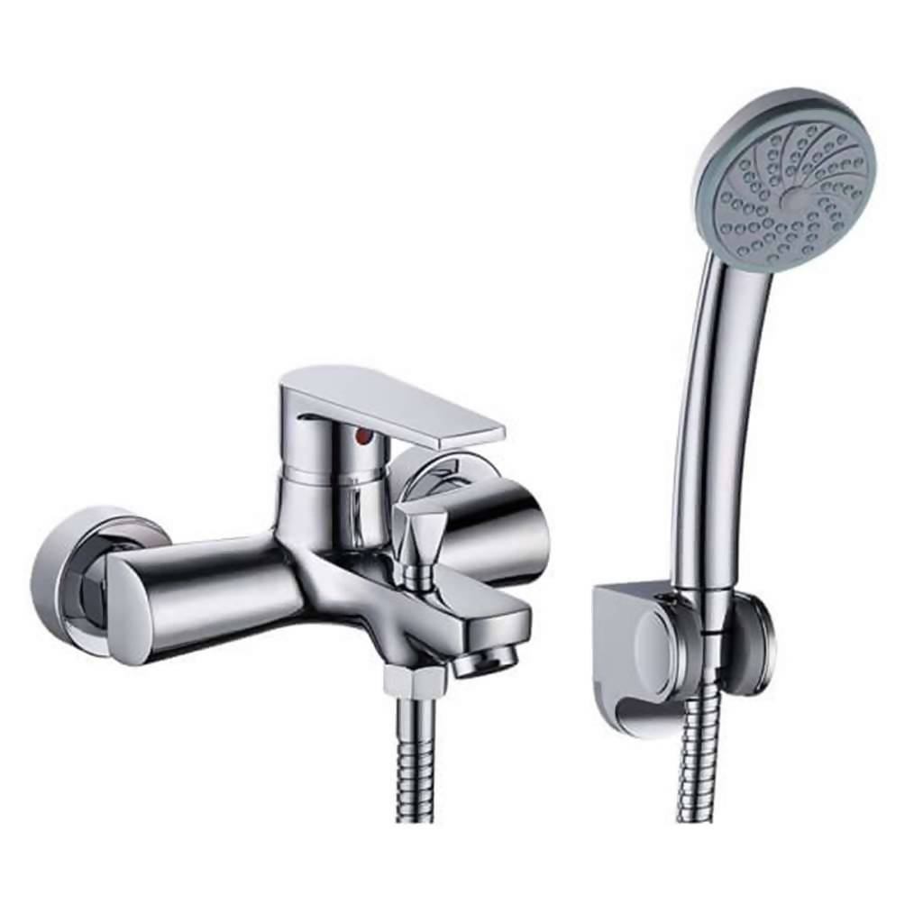Sapphire Wall Mounted Bath Mixer with Handshower, Chrome Plated DZR Brass