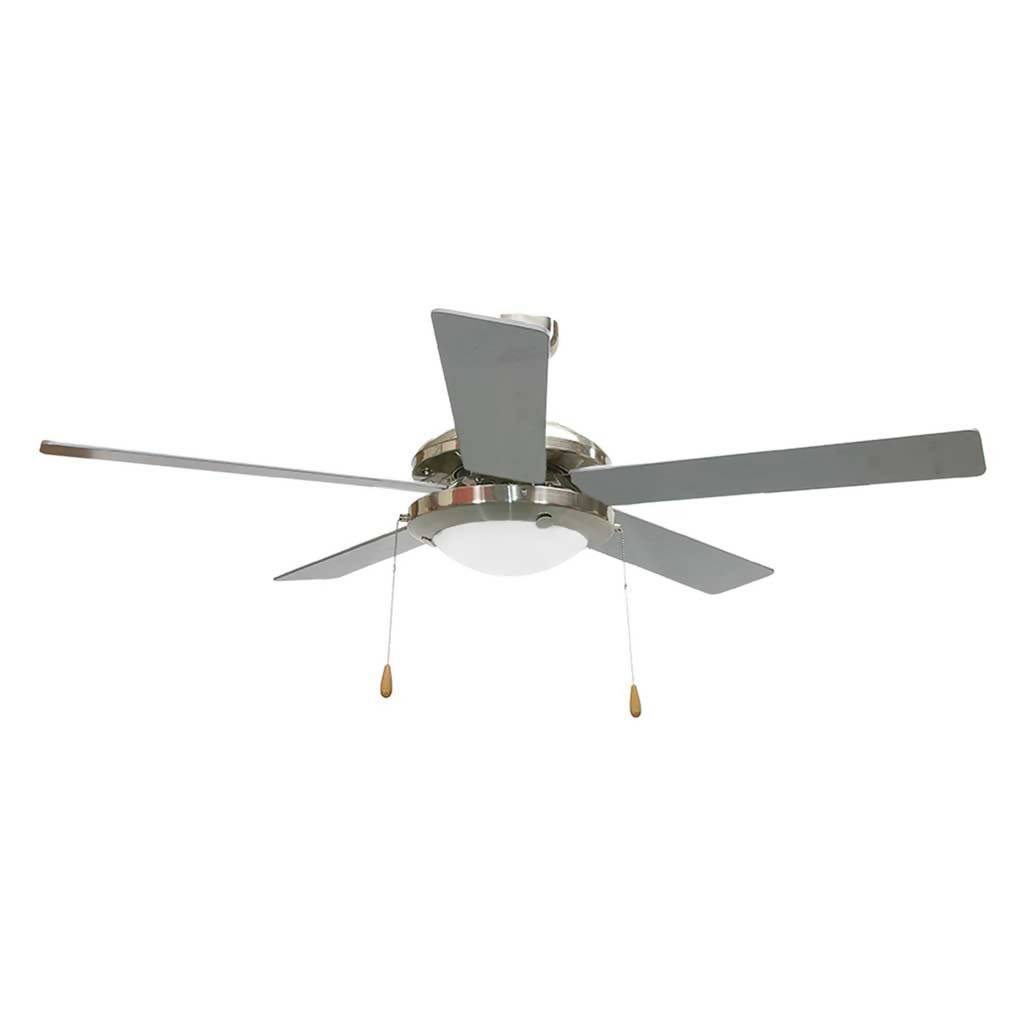 BRIGHT STAR FCF004 Ceiling Fan With Pull Chain, 5 Blade, Satin