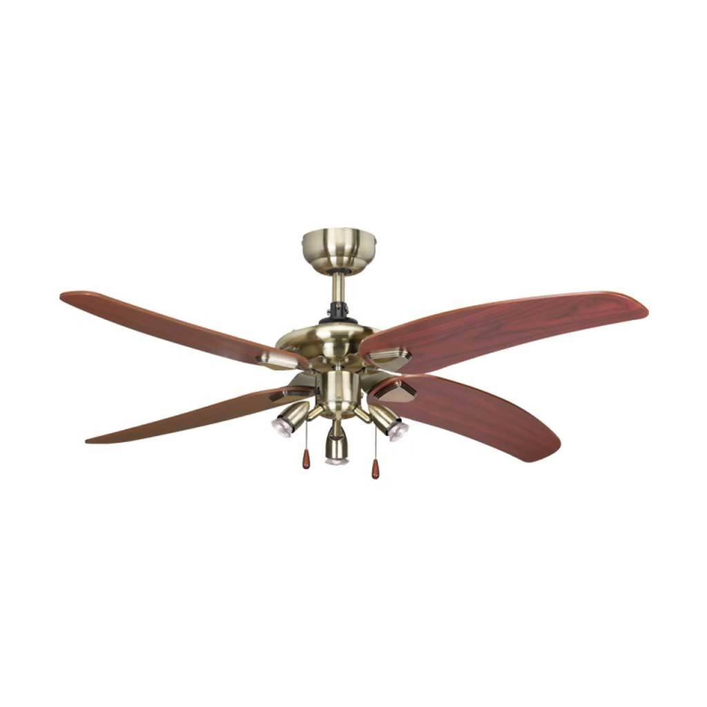 BRIGHT STAR FCF008 Ceiling Fan With Pull Chain, 4 Blade, Antique Brown