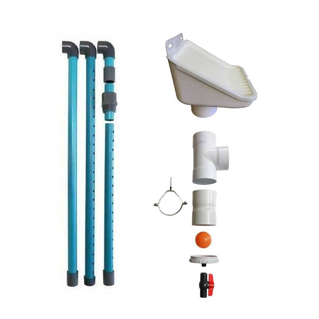 EcoDepot Rainwater Harvesting Pack 110 - Tank Cleaner, Leaf Catcher 110mm, First Flush Diverter 110mm