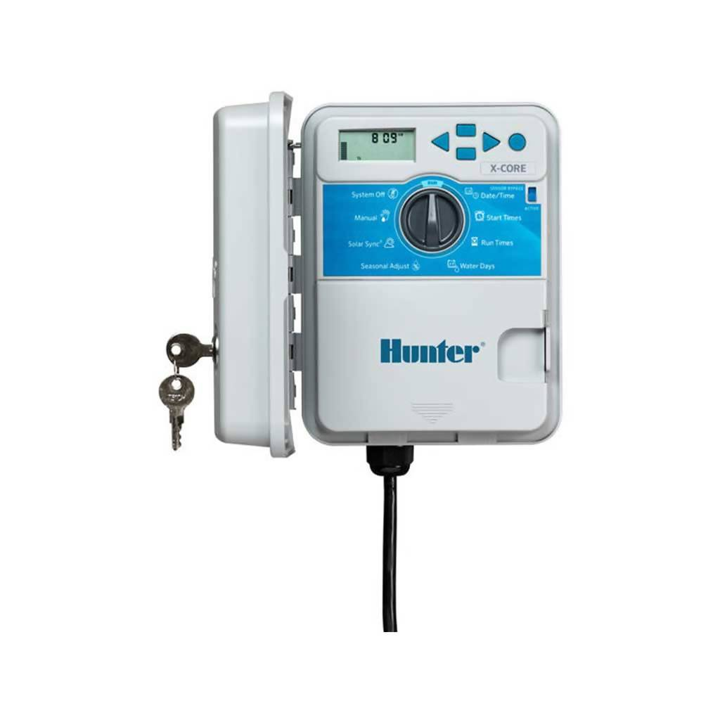 HUNTER XC401E X-CORE 4 Station Outdoor Controller with Plug, 230/240VAC