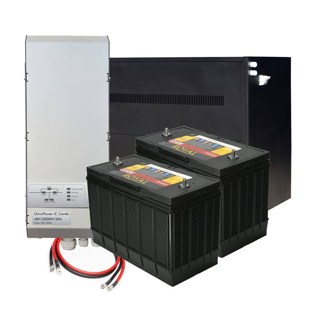 OmniPower Backup Power System with 12 x 105Ah Lead Acid Batteries, 3000W Inverter, 48V