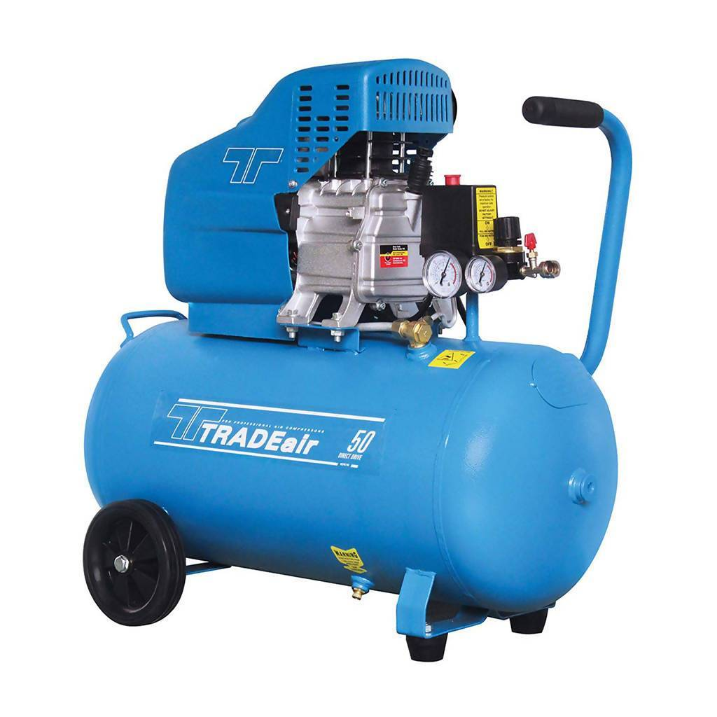 TRADEAIR MCFRC102A Direct Drive Air Compressor, Lubricated, 50L (1.5kW, 2.0hp, 230V)