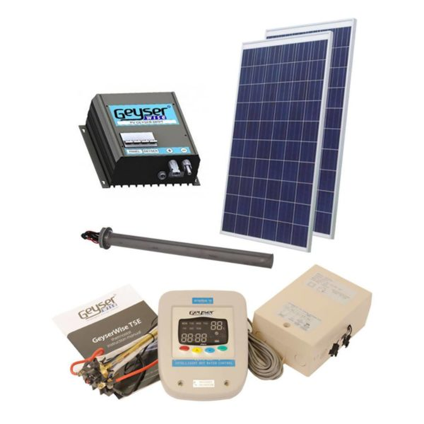 GEYSERWISE Solar PV Water Heating Retrofit Kit for 100L Geyser, 2x 300W Panels Included, Low Irradiation Area