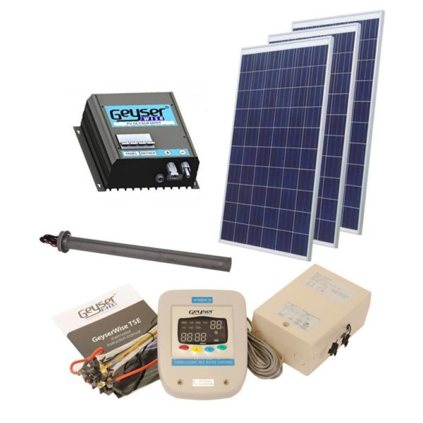 GEYSERWISE Solar PV Water Heating Retrofit Kit for 150L Geyser, 3x 300W Panels Included, Low Irradiation Area
