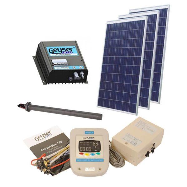GEYSERWISE Solar PV Water Heating Retrofit Kit for 200L Geyser, 3x 300W Panels Included, High Irradiation Area