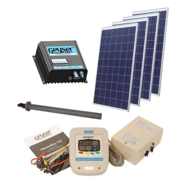 GEYSERWISE Solar PV Water Heating Retrofit Kit for 200L Geyser, 4x 250W Panels Included, Low Irradiation Area