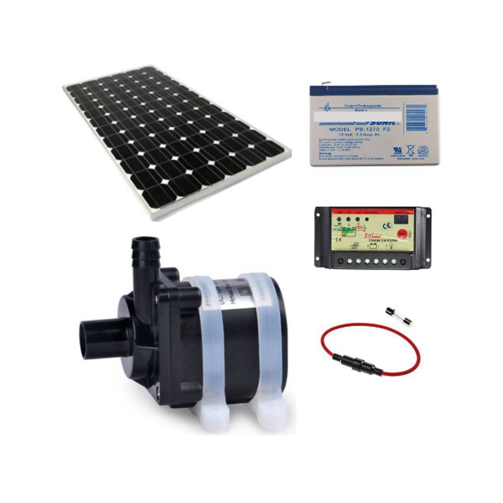 Solar Water Feature Pump With 30W Solar Panel, Fuse, 12Ah Battery & 10A Controller, 5m Delivery Height, 12L/Min, 12V