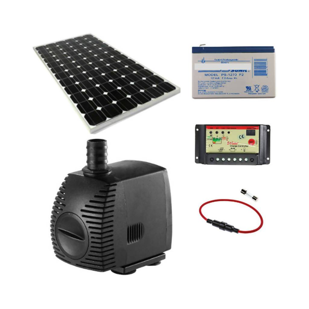 Solar Water Feature Pump With 30W Solar Panel & Fuse, 12Ah Battery & 10A Controller, 600L/Hr, 12V