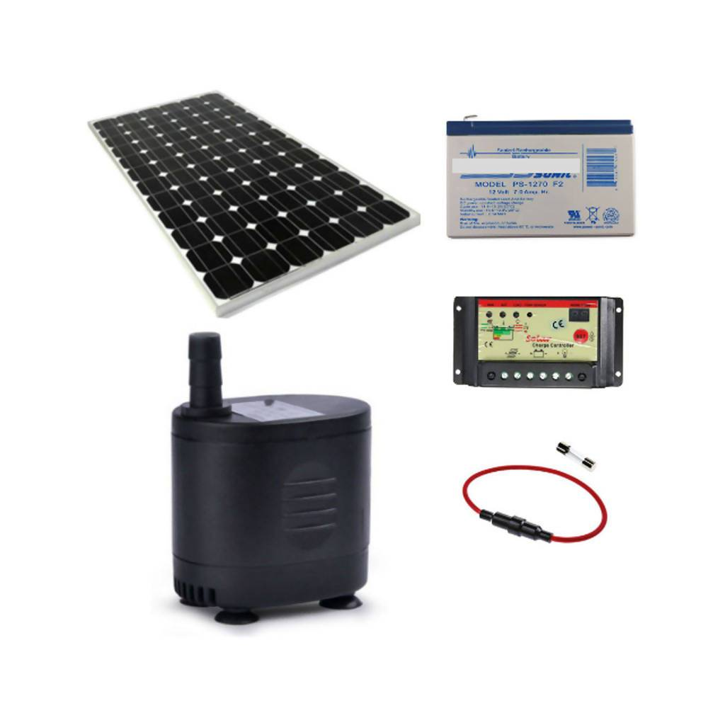 Solar Water Feature Pump With 30W Solar Panel & Fuse, 12Ah Battery & 10A Controller, 800L/Hr, 12V
