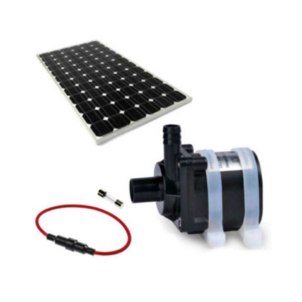Solar Water Feature Pump With 30W Solar Panel & Fuse, 5m Delivery Height, 12L/Min, 12V